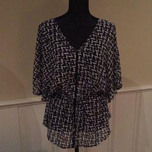 Sheer black & white blouse